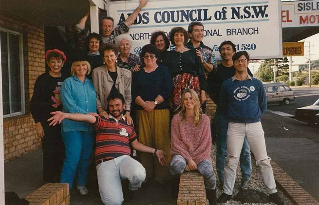 ACON staff and volunteers at the opening of ACON's Lismore office in 1987